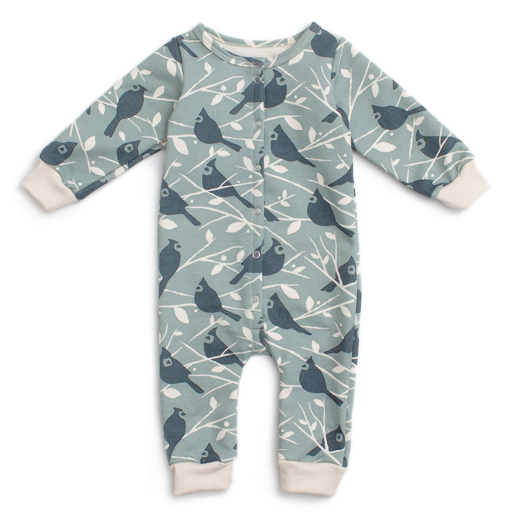 French Terry Jumpsuit - Birds In the Trees Blue