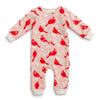 French Terry Jumpsuit - Birds In the Trees Red & Pink