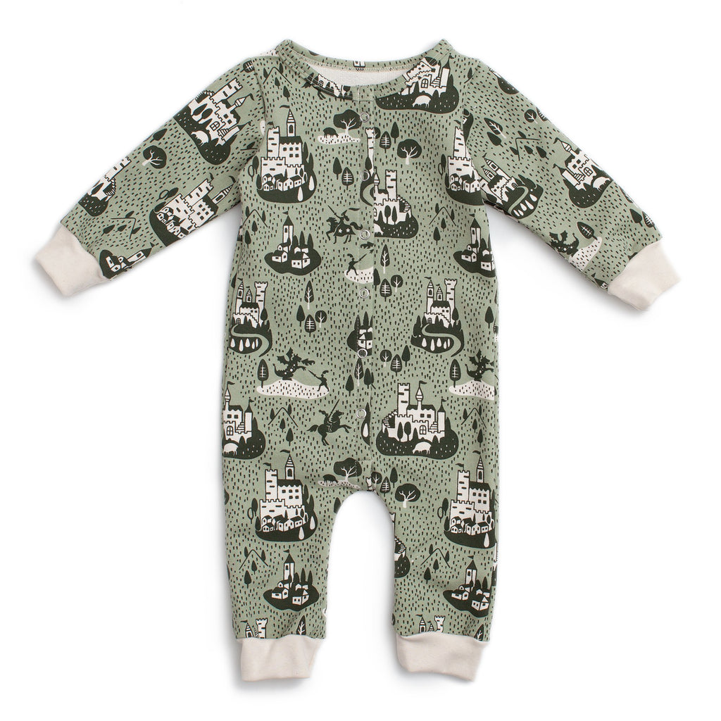 French Terry Jumpsuit - Castles & Villages Sage & Forest Green