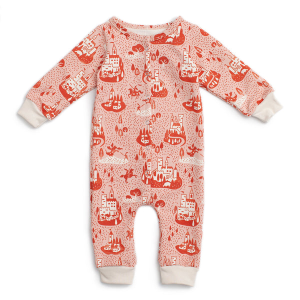 French Terry Jumpsuit - Castles & Villages Pink & Orange