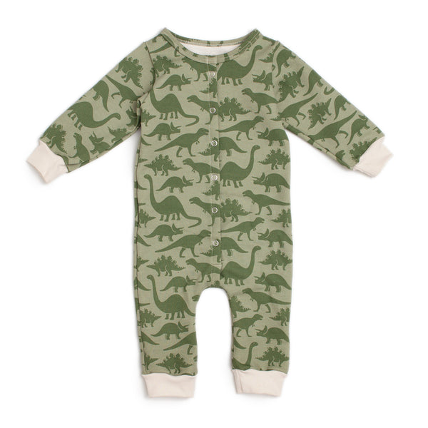 French Terry Jumpsuit - Dinosaurs Sage