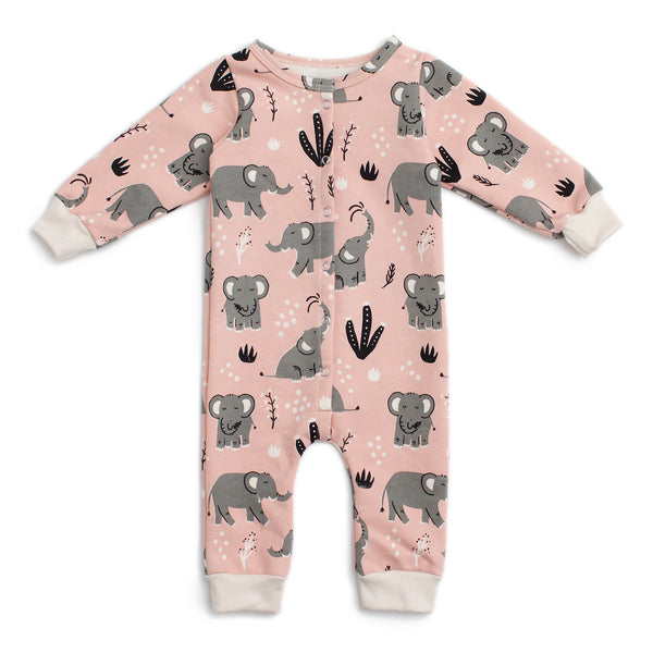 French Terry Jumpsuit - Elephants Pink