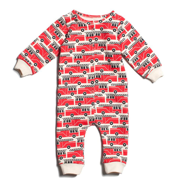 French Terry Jumpsuit - Firetrucks Red