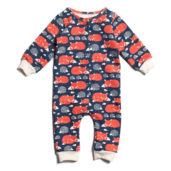 French Terry Jumpsuit - Foxes & Hedgehogs Navy & Orange