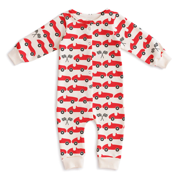 French Terry Jumpsuit - Race Cars Red