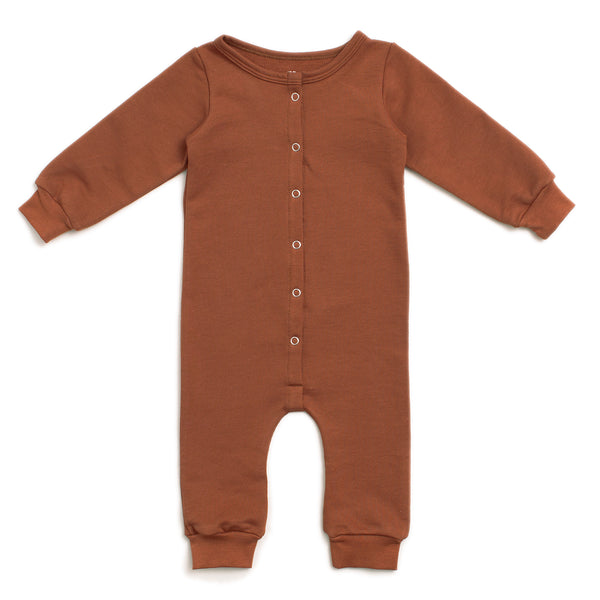 French Terry Jumpsuit - Solid Chestnut