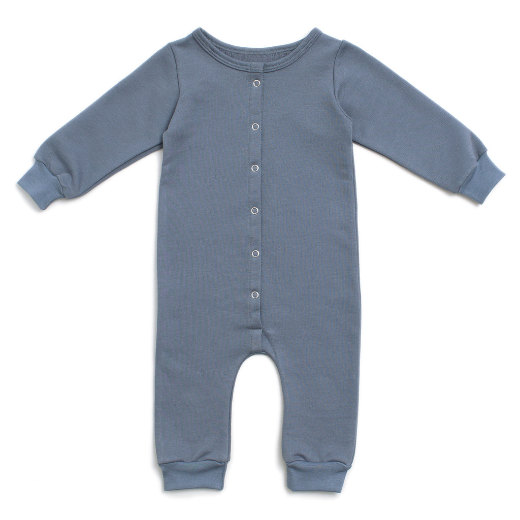 French Terry Jumpsuit - Solid Slate Blue