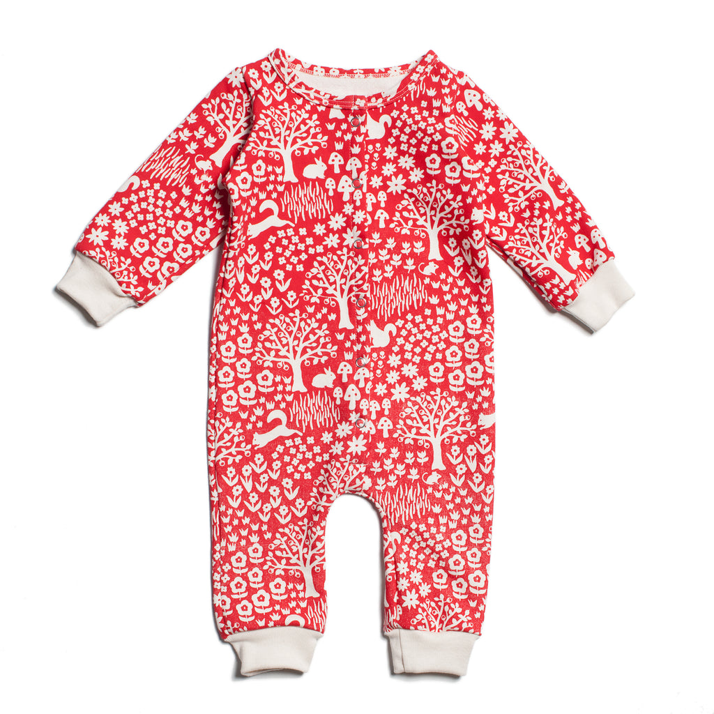 French Terry Jumpsuit - Woodland Red