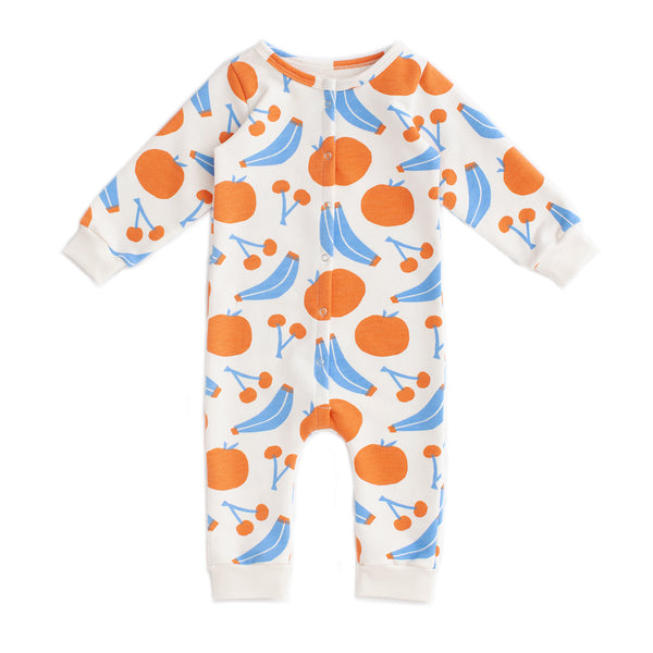 French Terry Jumpsuit - Yummy Fruit Blue & Orange