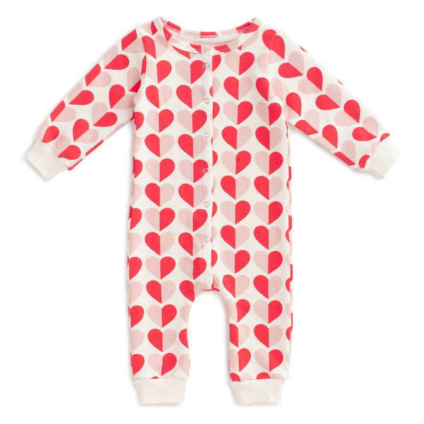 French Terry Jumpsuit - Hearts Red & Pink