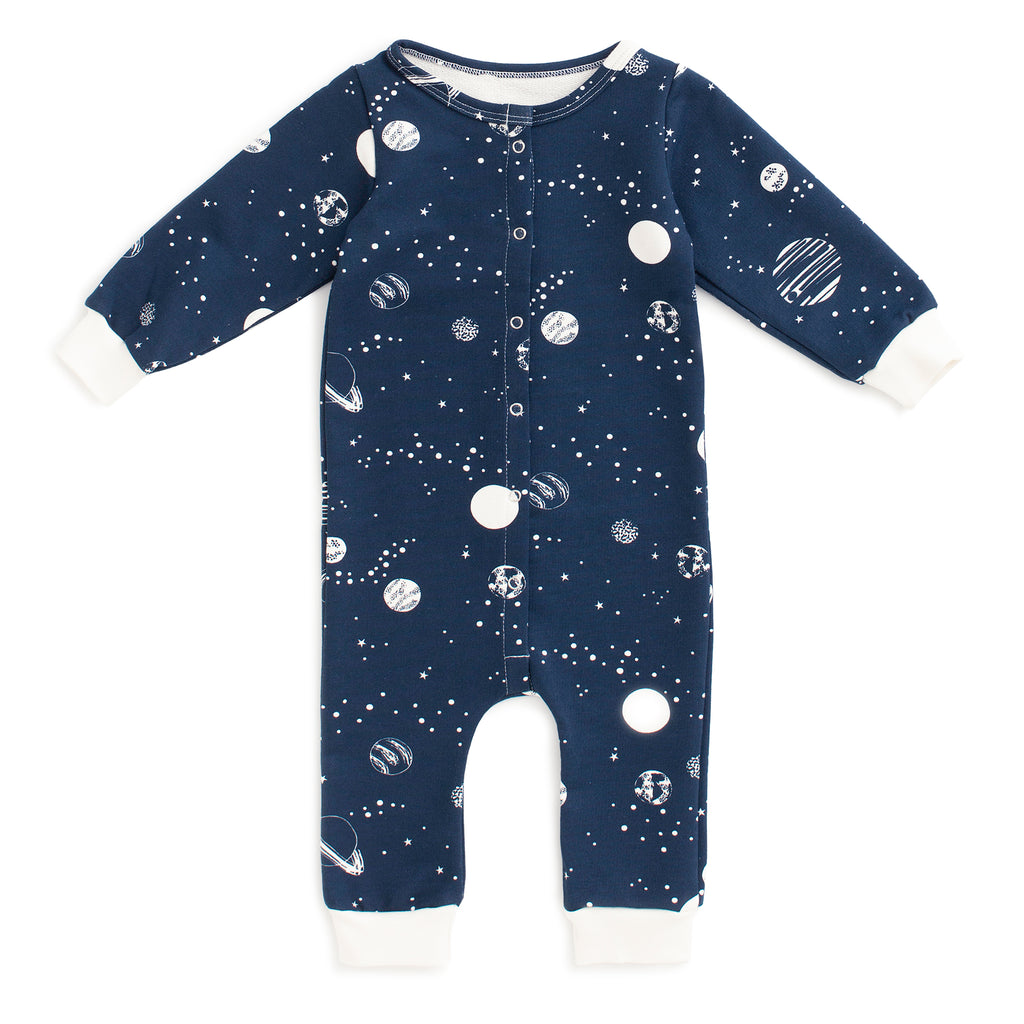 French Terry Jumpsuit - Planets Night Sky