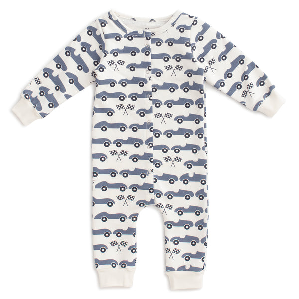 French Terry Jumpsuit - Race Cars Slate Blue