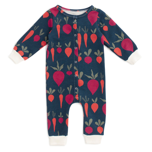 French Terry Jumpsuit - Root Vegetables Night Sky
