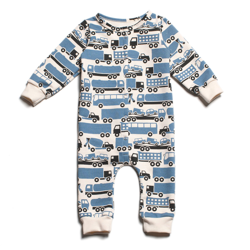 French Terry Jumpsuit - Big Rigs Blue