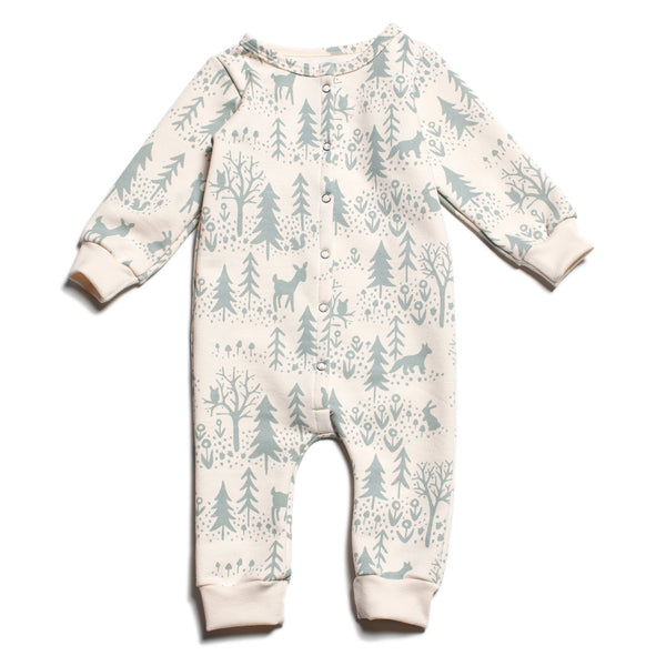 French Terry Jumpsuit - Winter Scenic Pale Blue
