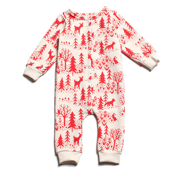 French Terry Jumpsuit - Winter Scenic Red