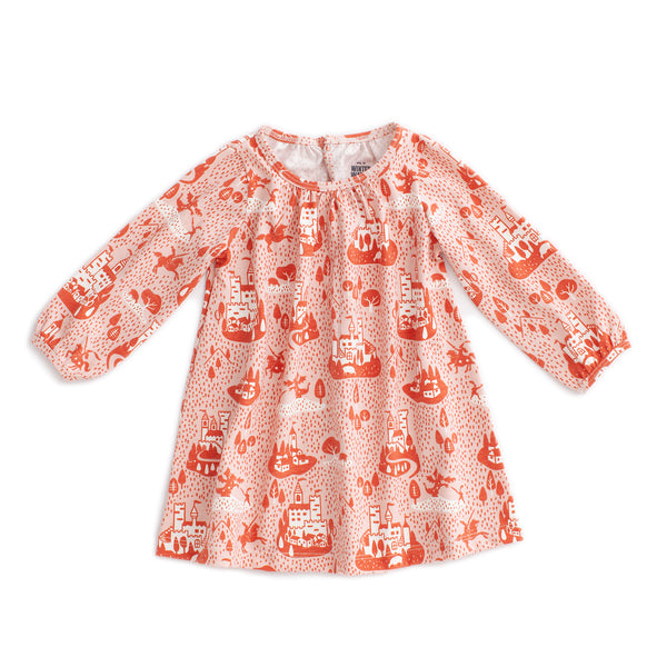 Juniper Baby Dress - Castles & Villages Pink & Orange