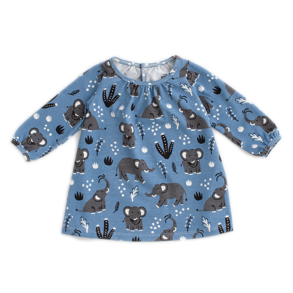 Juniper Baby Dress - Elephants Blue