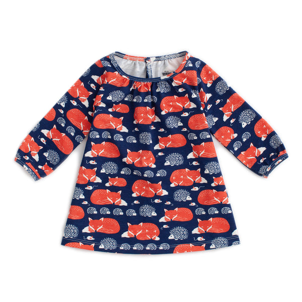 Juniper Baby Dress - Foxes & Hedgehogs Navy & Orange