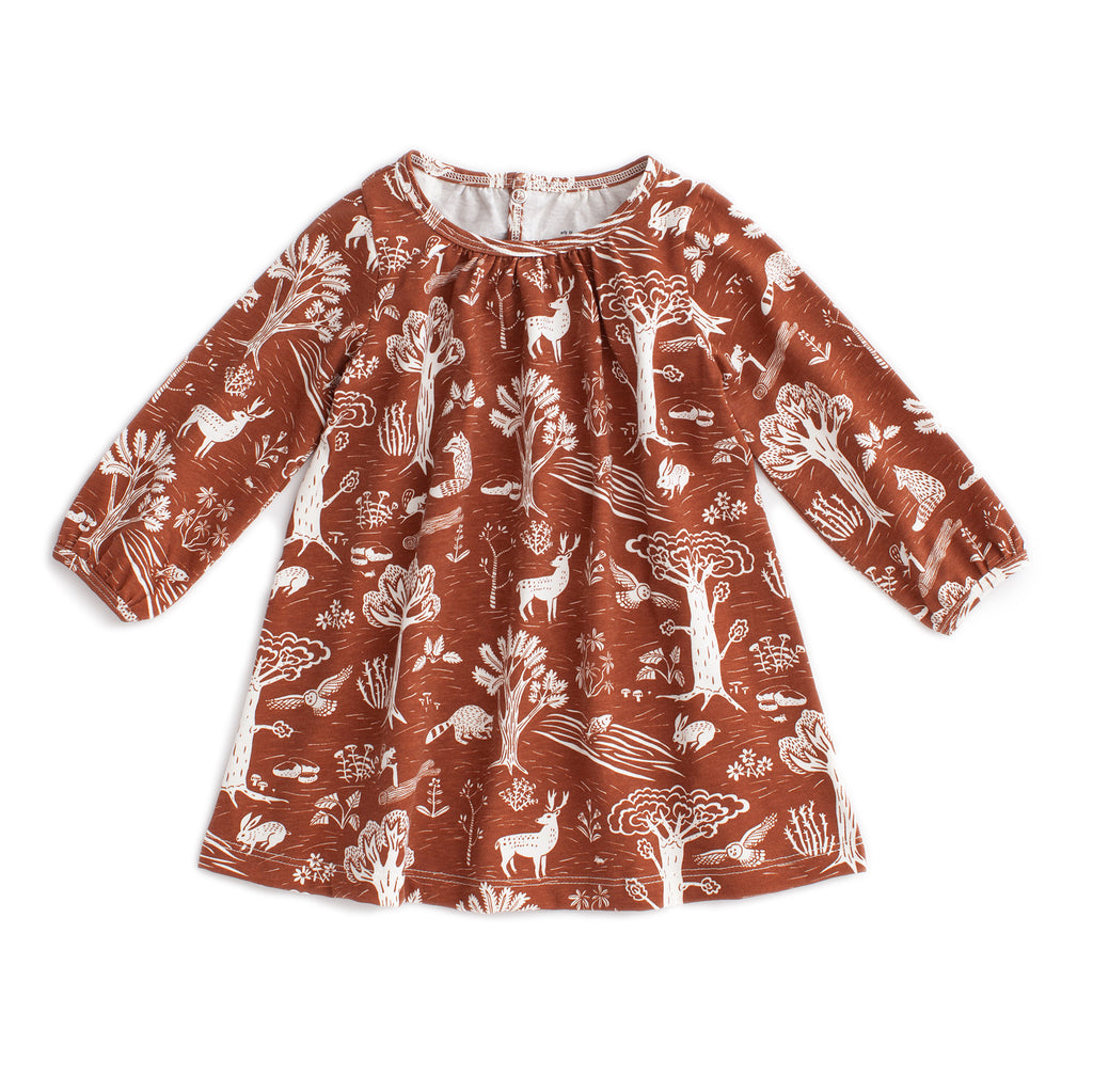 Juniper Baby Dress - In The Forest Chestnut