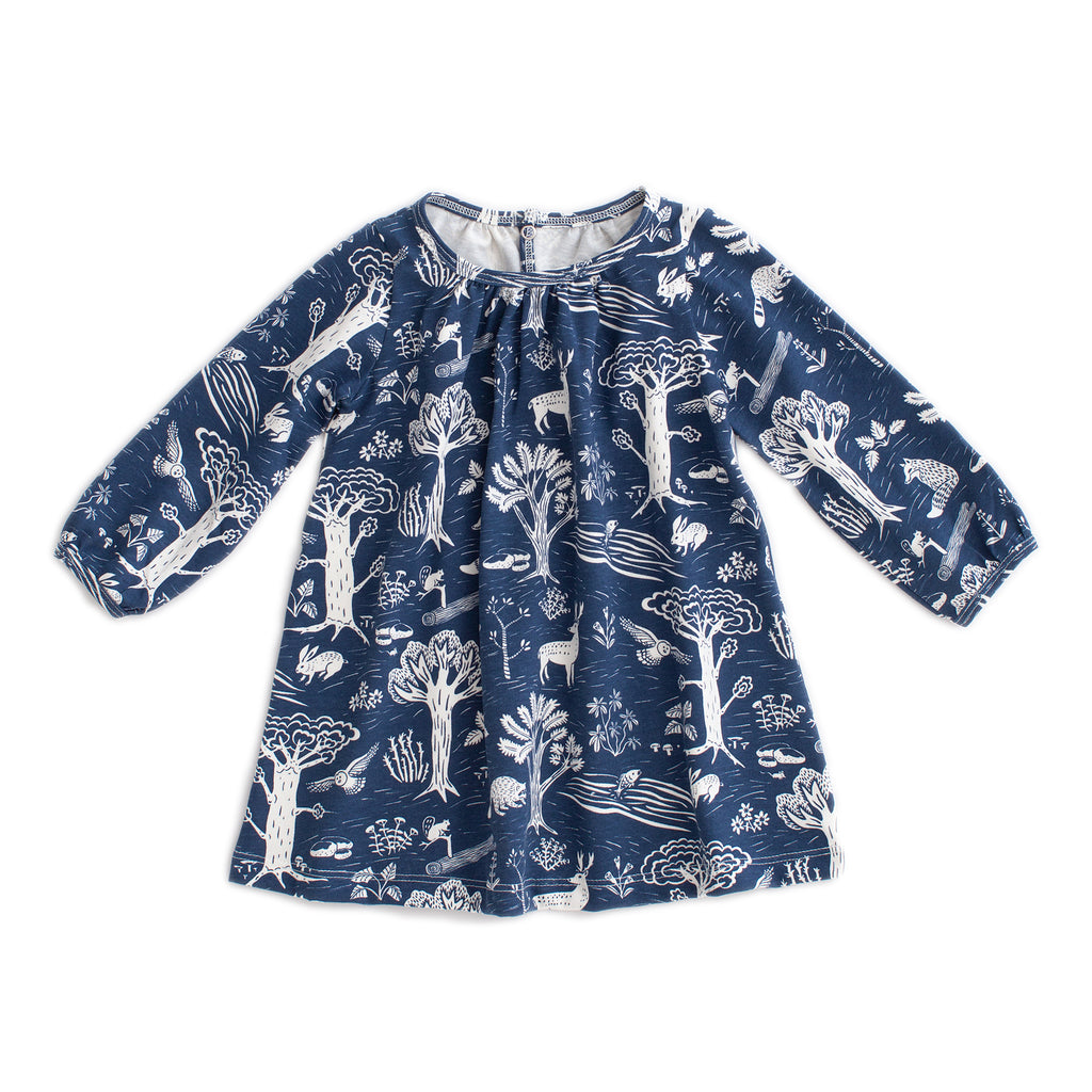 Juniper Baby Dress - In The Forest Navy