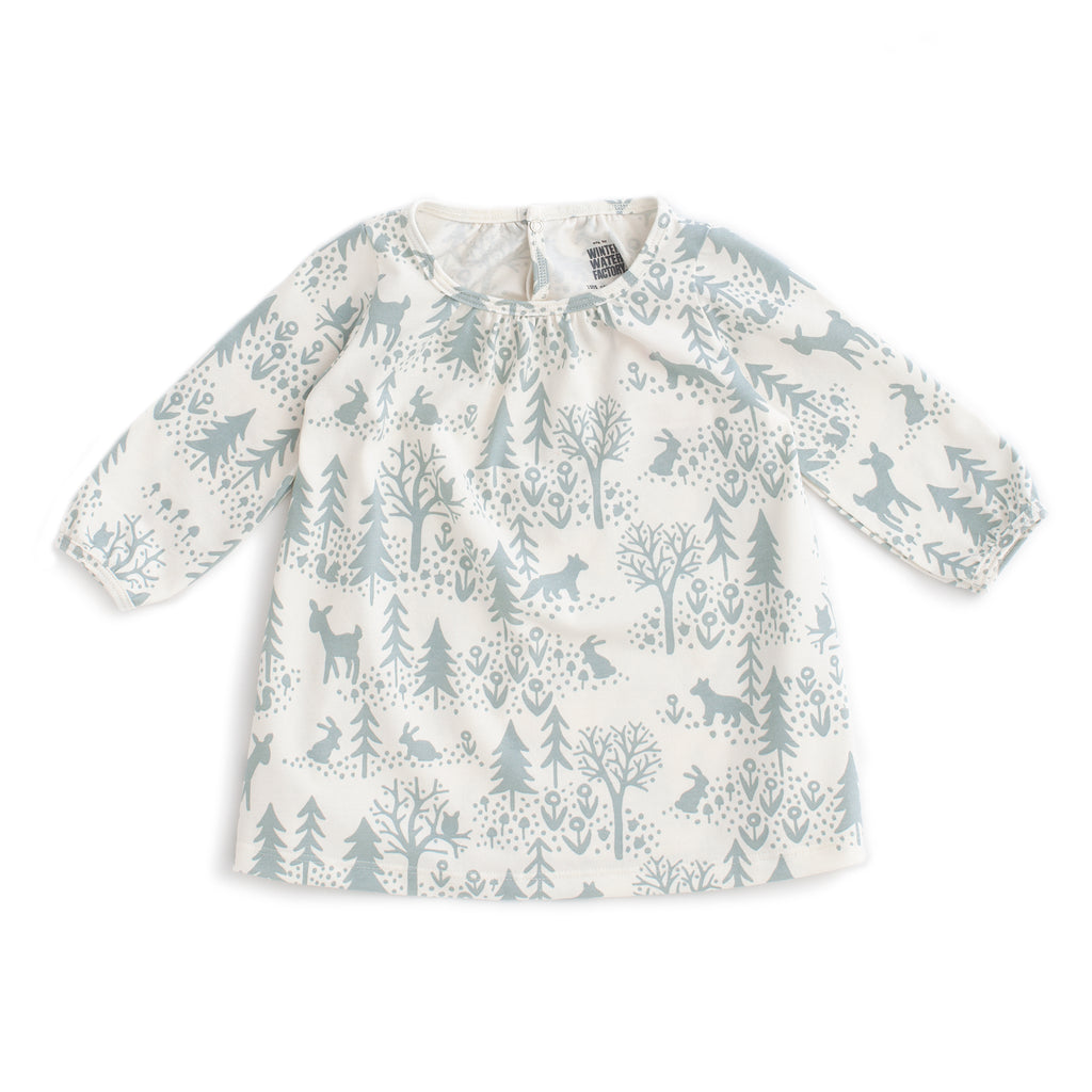 Juniper Baby Dress - Winter Scenic Pale Blue