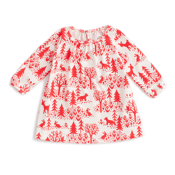 Juniper Baby Dress - Winter Scenic Red