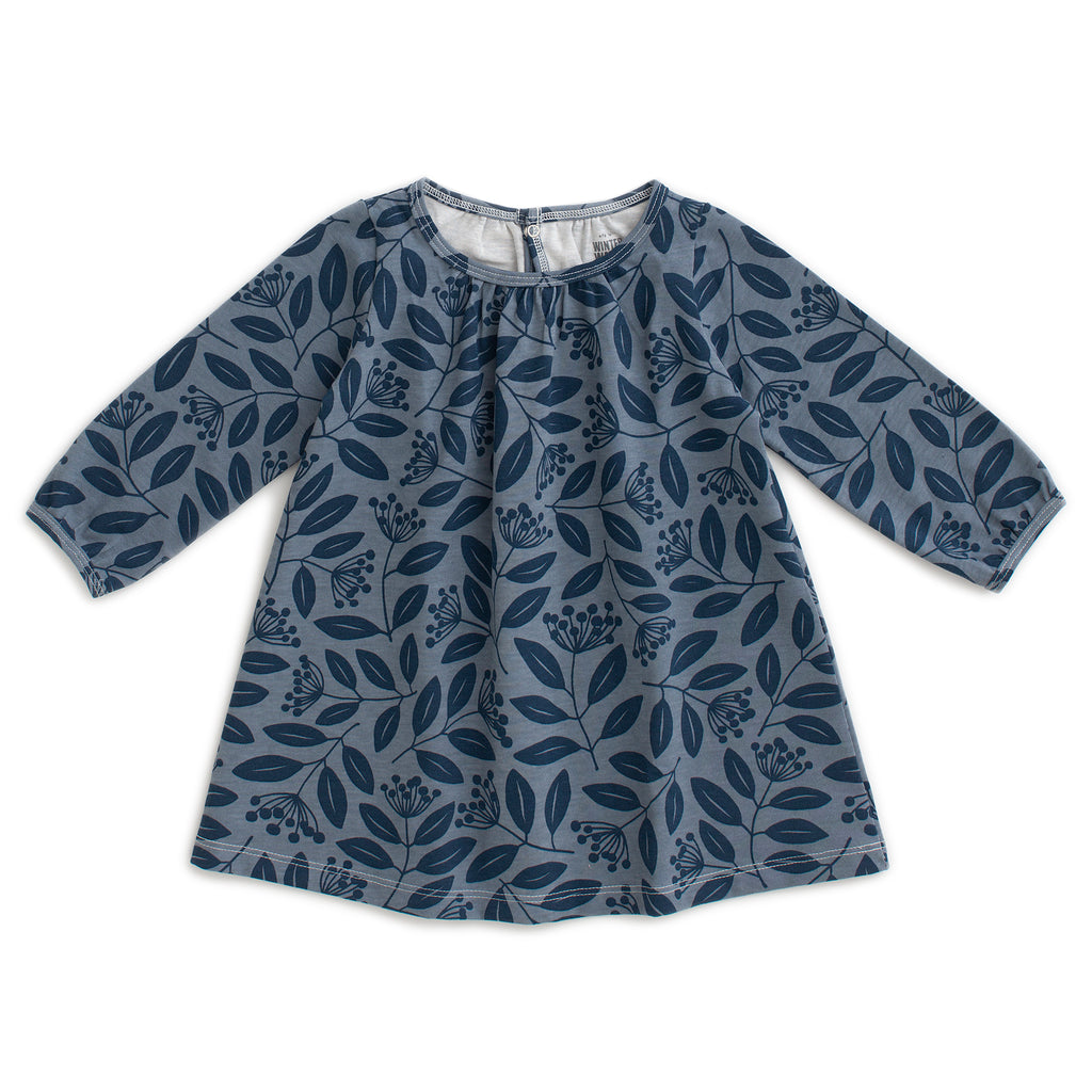Juniper Baby Dress - Elderberry Night Sky & Slate Blue
