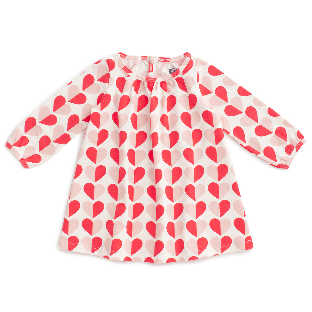 Juniper Baby Dress - Hearts Red & Pink
