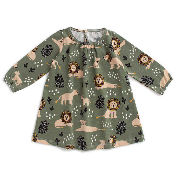 Juniper Baby Dress - Lions Forest Green