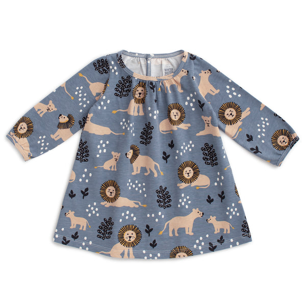 Juniper Baby Dress - Lions Slate Blue