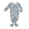 Knotted Baby Gown - Big Rigs Blue