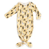Knotted Baby Gown - Giraffes Pale Yellow