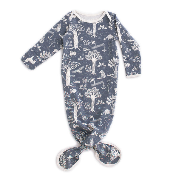 Knotted Baby Gown - In the Forest Slate Blue