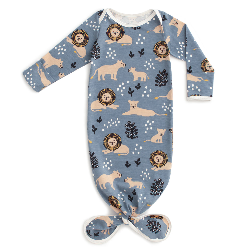 Knotted Baby Gown - Lions Slate Blue