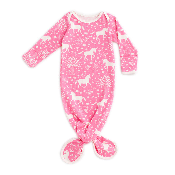 Knotted Baby Gown - Magical Forest Pink