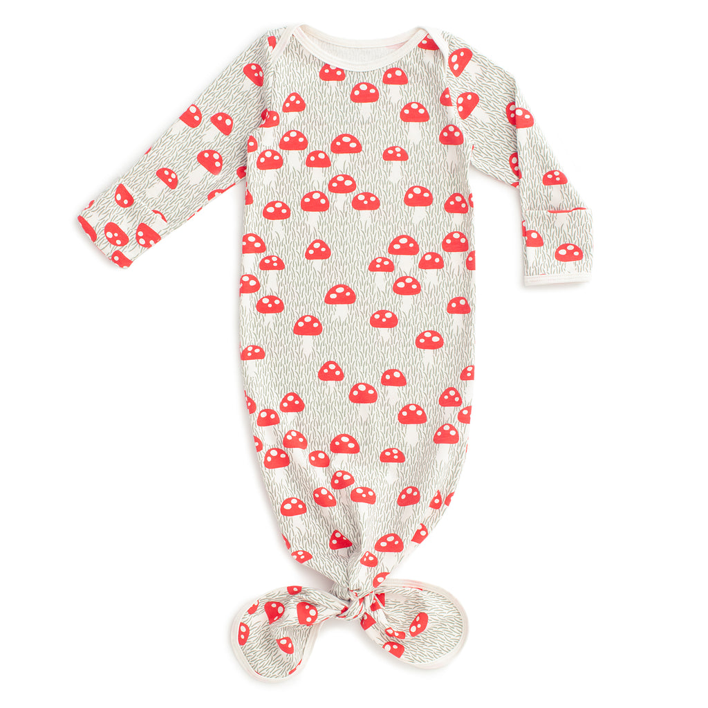 Knotted Baby Gown - Mushrooms Sage