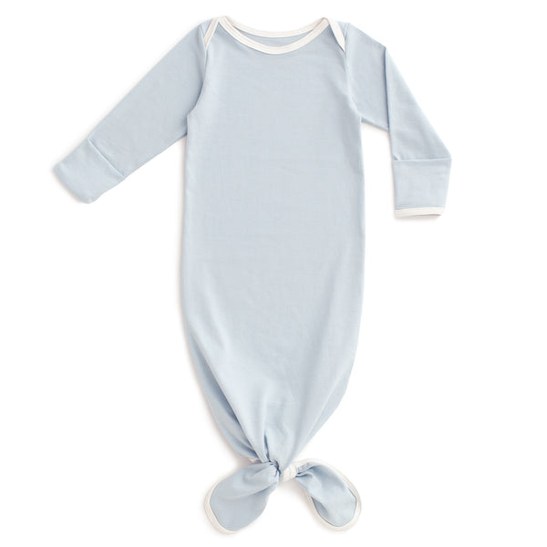 Knotted Baby Gown - Solid Pale Blue