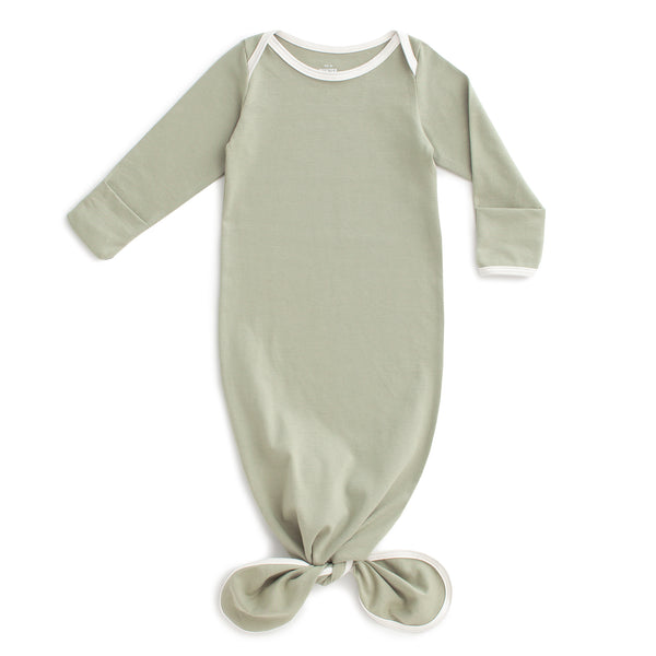 Knotted Baby Gown - Solid Sage