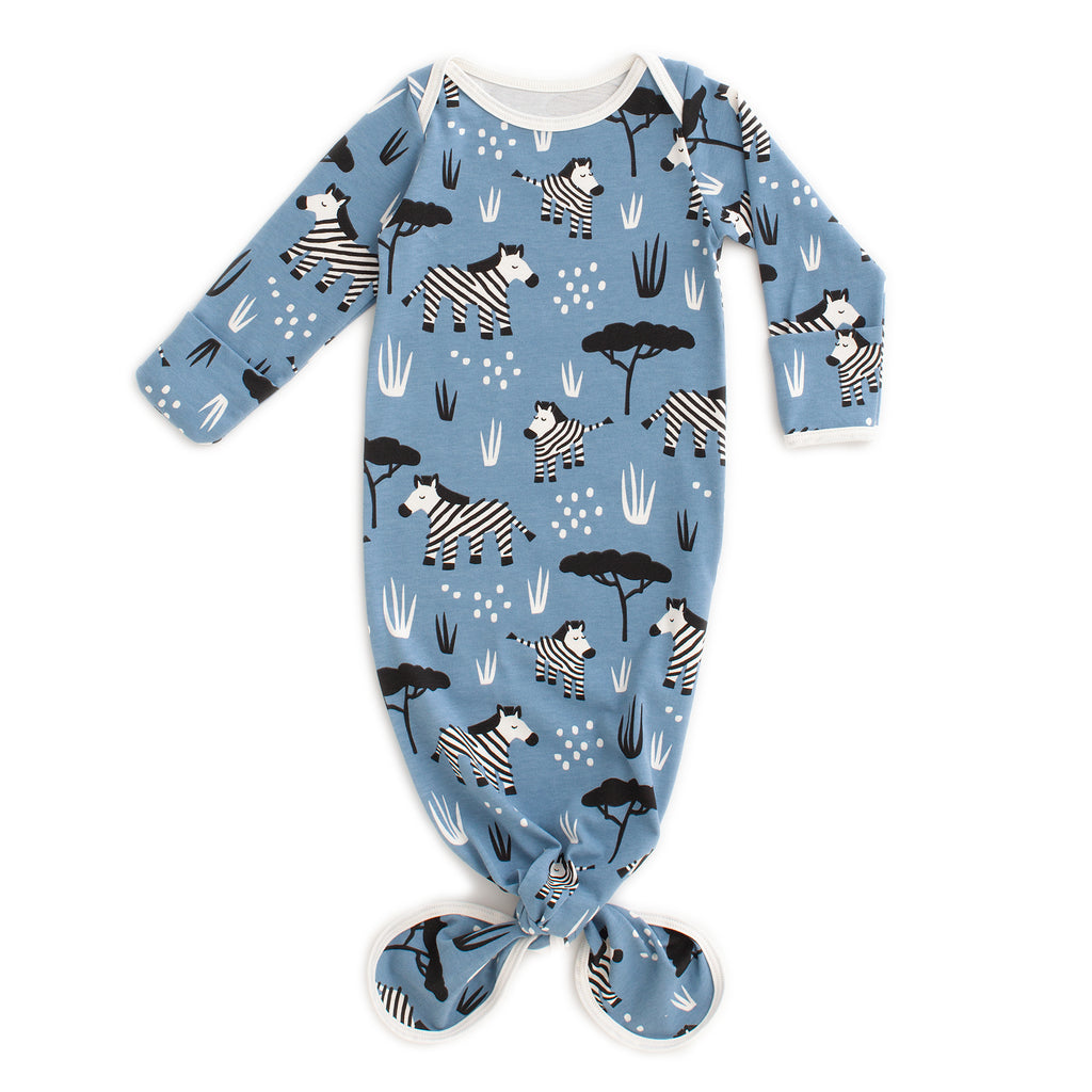 Knotted Baby Gown - Zebras Blue
