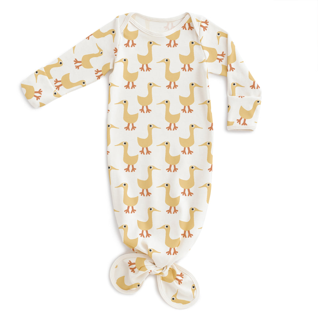 Knotted Baby Gown - Ducks Yellow