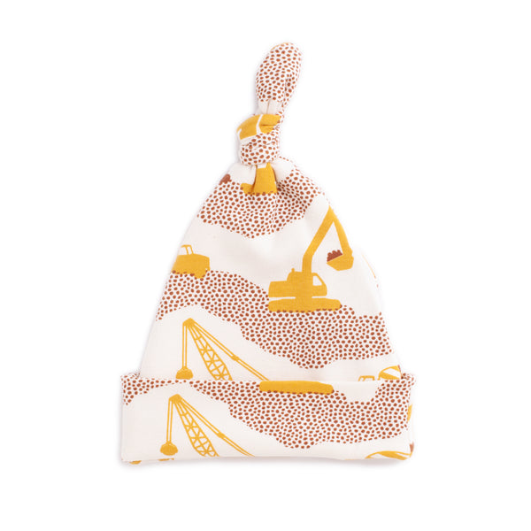 Knotted Baby Hat - Construction Yellow & Chestnut
