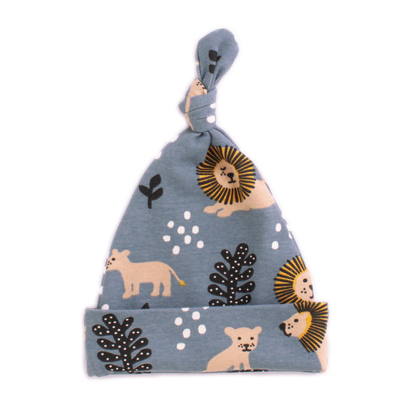 Knotted Baby Hat - Lions Slate Blue
