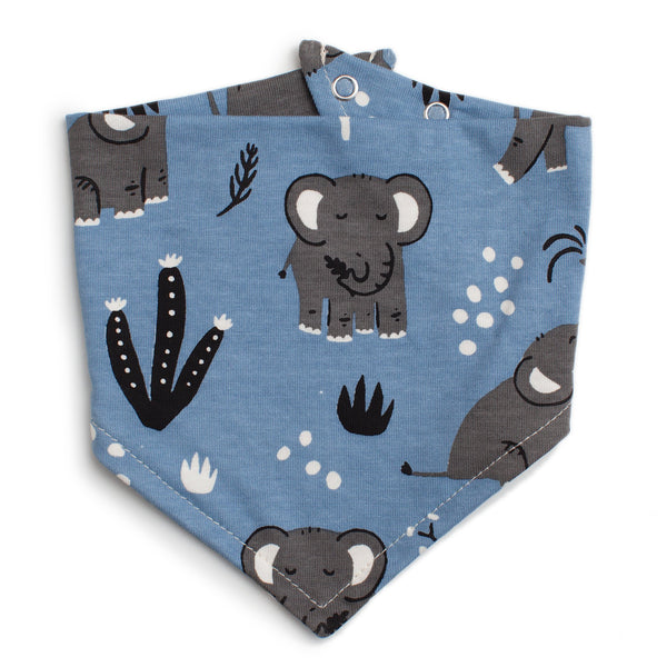 Kerchief Bib - Elephants Blue