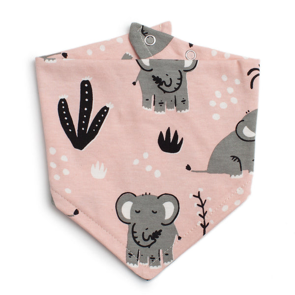 Kerchief Bib - Elephants Pink