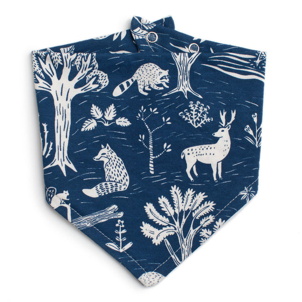 Kerchief Bib - In the Forest Navy