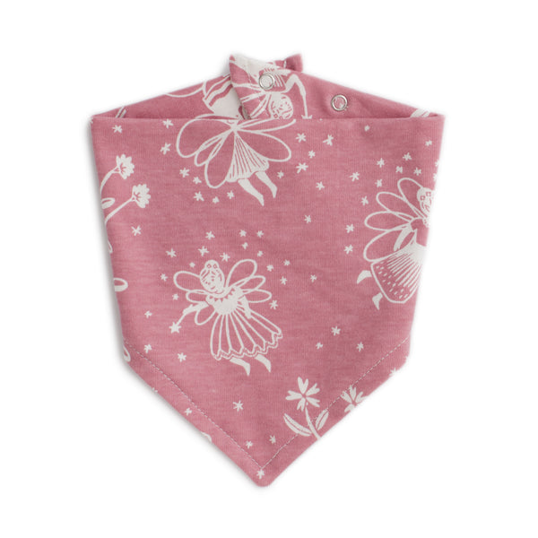Kerchief Bib - Fairies Dusty Pink