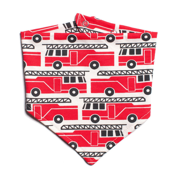 Kerchief Bib - Firetrucks Red