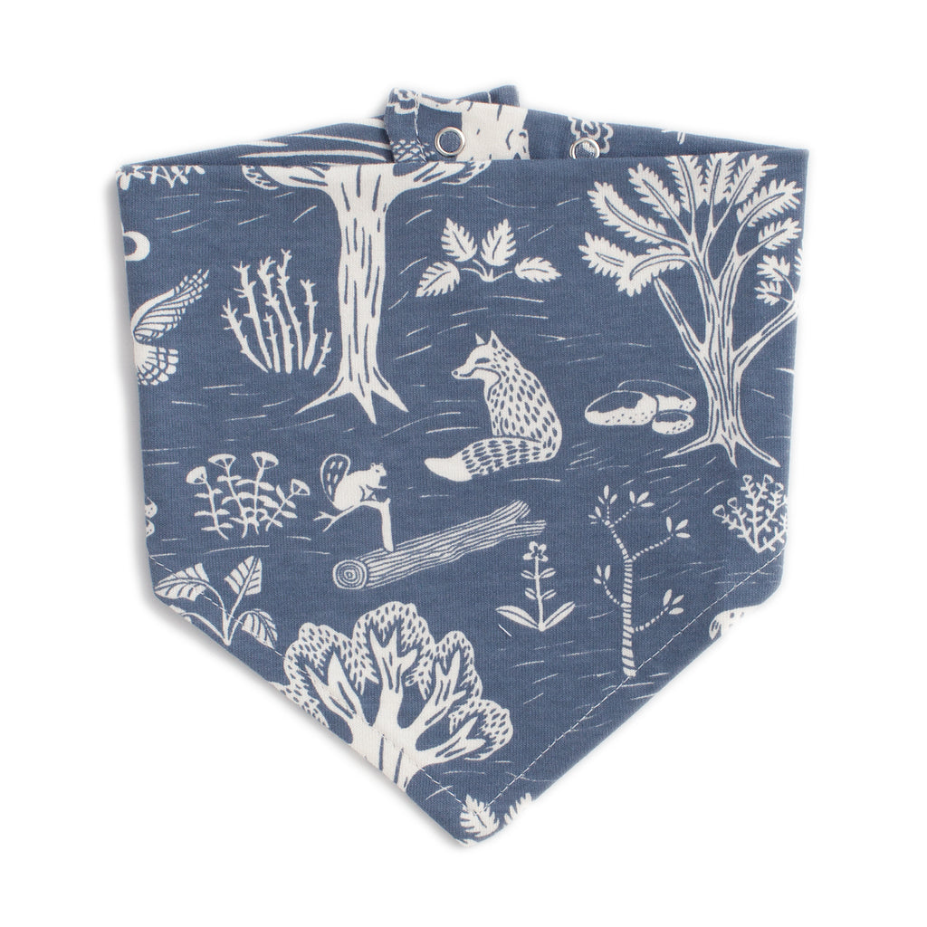 Kerchief Bib - In The Forest Slate Blue