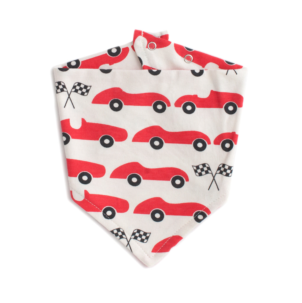 Kerchief Bib - Race Cars Red